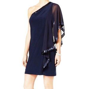 Betsy & Adam Navy Sequin-Trim One Shoulder Dress 4